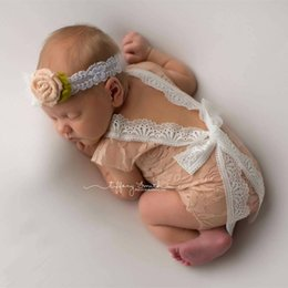 Barato Bodysuits Bonitos Do Bebé-Newborn Baby Lace Romper Baby Girl Cute Summer Rompers Jumpsuits Infant Toddler Photo Clothing Macio Laço Bodysuits NC062