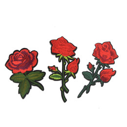 Wholesale cloths irons resale online - 10pcs small Rose Floral Embroidery Patches Cloth Decoration embroidered rose applique Iron Sew on Patch for diy craft sewing