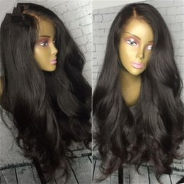 Cheap Synthetic Auburn Wigs Canada - Cheap 180% Density Natural Black Color Front Lace Synthetic wig Long body Wave Hair Glueless Wig Synthetic Lace Front Wigs For Women