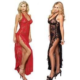 Barato Longo Vestido De Lingerie Rendas-2018 New Sexy Women's Ladies Lace Halter Long Dress G-String Lingerie Nightwear Pijamas 2 cores Plus Size