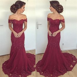 Chinese  New Design 2019 Hot Burgundy Mermaid Prom Evening Dresses Arabic Sexy Off Shoulders Appliques Beaded Long Verstidos Formal Party Wear Gowns manufacturers