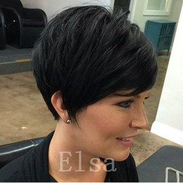 best hair wigs for black women Canada - New Arrival Cheap Pixie Cut short Human hair wigs with baby hair lace front wig for black women Best brazilian hair wigs