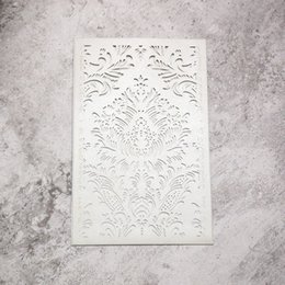 Chinese  20 pcs - silver pearl metallic paper laser cut cards rectangle wedding invitation cards holder with fancy pattern manufacturers