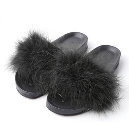 db00770190a5fe Women Fur Slippers Furry Slide Ostrich Feather Home Slippers Fashion Flip  Flops Beach Sandals Summer Women Flats Home Shoes