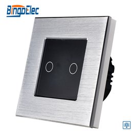 $enCountryForm.capitalKeyWord NZ - Wholesale-2gang 1way touch screen dimmer switch, silver aluminum and black glass panel switch,EU UK standard, AC110-240V,Free shipping