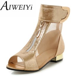 48c533dc271c Wholesale-AIWEIYi Open toe women ankle boots summer boots new fashion  cutouts buckle strap charming Sandals chunky heel shoes woman shoes