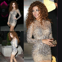 $enCountryForm.capitalKeyWord Australia - Saudi Arabia Myriam Fares Cocktail Dresses with Crystal Beaded Long Sleeve Sheath Luxury Short Prom Dress With Rhinstones Celebrity Gowns