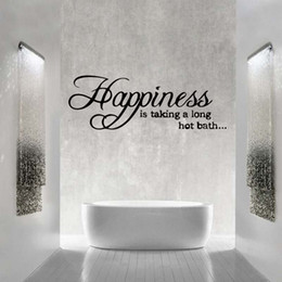 Bathroom Wall Sticker Quotes Australia - Happiness Is Taking A Long Hot Bath Wall Sticker Quote Removable Bathroom Vinyl Decals Decor Graphics Diy