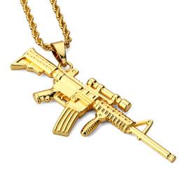 Sniper Pendants Canada - Fashion Men Hip Hop Gold Jewellery Sniper Rifle Pendant Necklace For Men Long Chains Design Punk Rock Jewelry Necklace