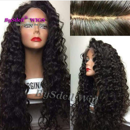 Discount synthetic hair curly kanekalon - Synthetic lace front wig glueless kanekalon heat resistant long kinky curly synthetic wigs with baby hair for black wome