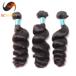 Hair Pcs Canada - Wholesale Mix Length 3pcs-12-26 Inch Deluxe Loose Wave 100% Peruvian Virgin Hair Weave Remy Human Hair Weft 100g pcs