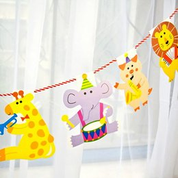 Pack Supplies Australia - Wholesale- 15Pcs Pack 2M Happy Family Baby Shower Garland Striped Paper Flags Cartoon Animal Banner Decor Birthday Party Supplies For kids