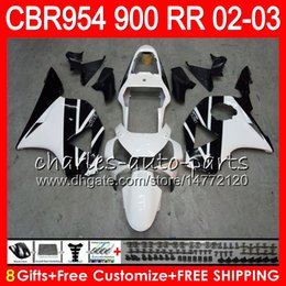 $enCountryForm.capitalKeyWord NZ - Body For HONDA CBR 954RR CBR900RR CBR954RR 2002 2003 66NO45 Black white CBR 900RR CBR954 RR CBR900 RR CBR 954 RR 02 03 Fairing kit 8Gifts