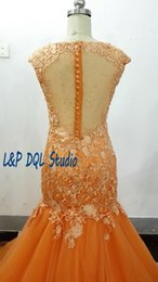 Ivory Fancy Dress NZ - Orange Mermaid Evening Dresses Court Train Fancy Prom Dresses Soft tulle with Floral Lace Crew Sleeveless L&P DQL Studio