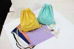 $enCountryForm.capitalKeyWord NZ - 100pcs lot New Arrival Candy blank DIY Women Backpack cotton Canvas Drawstring Bag storage bag shoe case Outdoor 34.5*41cm