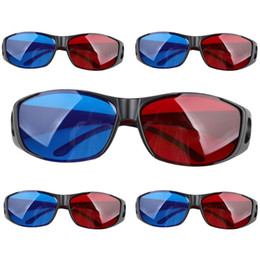 Chinese  Wholesale- Top Deals 5pairs Red+Blue Plasma TV Movie Dimensional Anaglyph 3D Vision Glasses (Anaglyph Frame), Black manufacturers