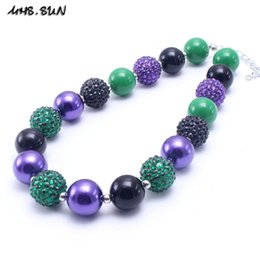 best christmas gifts for babies NZ - MHS.SUN Deep Green Color Christmas Kid Chunky Necklace Best Gift Bubblegume Bead Chunky Necklace Jewelry For Baby Kid Girl