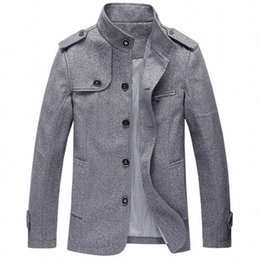 Vestes En Col Haut De Gamme Hommes Pas Cher-Vente en gros - Haute qualité British Wool Trench Coat Hommes Stand Collar Single Breasted Printemps Automne Business Long Vestes Hommes Gris Khaki Bleu