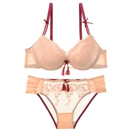 b9f9a855e842 Vintage tassel lace lingerie luxury pink underwear sets for women sexy push  up bra set cotton thick brassiere embroidery Flowers