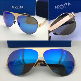 afc50354d8 2018 new mykita sunglasses ultralight frame without screws FRANZ goggles frame  flap top men brand designer retro coating mirror lens