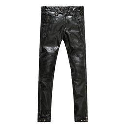 6ea64f9949f3b Wholesale- Men s leather pants men s motorcycle leather pants fashionable  city 2017 new style men s fashion PU pants men