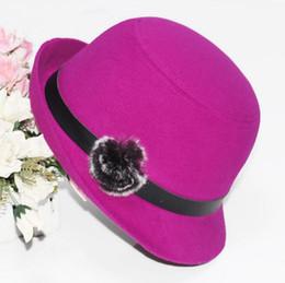 Discount blue felt hat - High qualit Autumn and winter women hat fashion hood spring trend after Alice eaves woolen hat rabbit hair ball felt hat