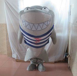 Shark maScot adultS online shopping - SX0728 real photos giant big grey shark mascot costume for adult grey whale mascot suit