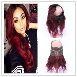 Wine Red Ombre 360 Full Lace Frontals With Natural Hairline  1B 99J  Burgundy Red Ombre Peruvian Hair Body Wave 360 Lace band Closure 603288d43