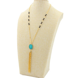 $enCountryForm.capitalKeyWord UK - 11 Colors Bohemian Resin Druzy Drusy Necklace Gold Metal Chains Tassel Irregular Imitation Crystal Sweater Necklace Christmas gift