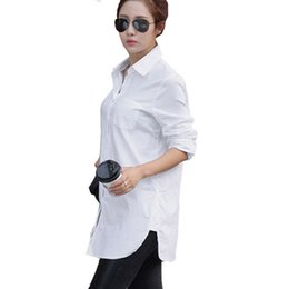 $enCountryForm.capitalKeyWord UK - Women Casual Shirts Tops Solid White Cotton Ladies Shirt 2017 Spring Summer Puff Sleeve Turn-Down Collar Blouse for Girls