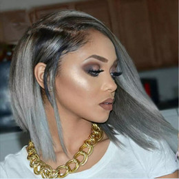 wig grey Australia - Brazilian Grey Ombre Full Lace Human Hair Wigs Wavy Silver Gray Glueless Front Lace Wigs 130% Density With Bleached Knots gray hair wig