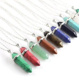 Green prism online shopping - Hexagon Prism Natural Stone Pendant Necklaces Point Chakra Healing Cross Heart Awl Crystal Stainless Steel Christian Jewelry for women men