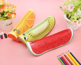 Watermelon Cosmetic Bags Cases Australia - Fruit Pencil Bags Watermelon Kiwi Fruit Orange Single Cases Multifunction Zipper Package For School Makeup Cosmetic Box