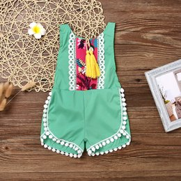 Barato Grossista-Mikrdoo New Summer Baby Floral Romper Infant Girl Toddler Green Retro Tassels Rompers Jumpsuit infantil Newborn Cotton Cute Clothes Wholesale