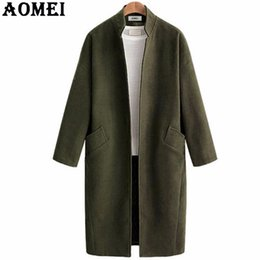 Tweeds Vêtements Pas Cher-Women Casual Fashion Peacoats Bleu marine Wear to Work Office Lady Outwear Vêtement Tweed 2017 New Autumn Autumn Overcoat Cape Coat