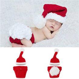 Crocheted Hats For Infants Australia - Newborn Baby Santa Claus Photo Props Infant Baby Christmas Hat Diaper Set Crochet Baby Hat Shorts Set for Photo Shoot