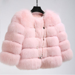 Señoras Short Parkas Baratos-Invierno Fox Fur Coat Jacket Petite Ladies Fur Peacoat Outwear cuello redondo Manga larga Parka abrigos cortos Trench abrigos cálido CJE1006