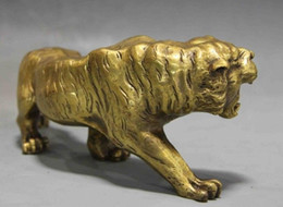 brass sheets Canada - Chinese Fengshui Copper brass Animal Zodiac Year Lucky Tiger Statue FGYU8