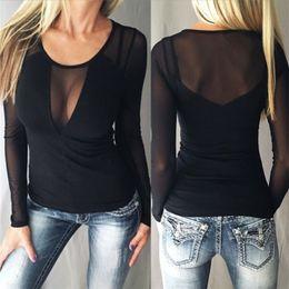 $enCountryForm.capitalKeyWord Canada - Summer Sexy Black 2017 Mesh Tee See-Through Women T-shirts The Code 5XL Slim U-neck Long Sleeve Shirt Coat Collar Stitching Jacobs Perspecti