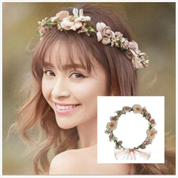 Hair Halo Wholesale NZ - Pretty Bridal Garland Headband Flower Crown Hair Wreath Halo with Adjustable Ribbon for Wedding Festivals Bridal Hair Accessories