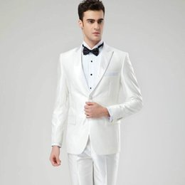 Satin Pant Suit NZ - New men suits fashion simple wedding dress suits high quality white lapel one button party feast tuxedos suits(jacket+pants)