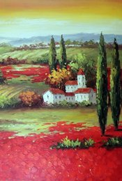 $enCountryForm.capitalKeyWord Canada - Framed Tuscany Sunset Italian Farm Homes Red Poppy Field,Pure Hand-painted Art Oil painting On Thick Canvas,Multi sizes Available J005