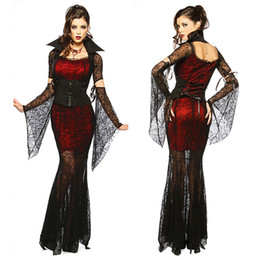 Gothique Sexy Costume Halloween Dress Costume Sexy Sorcière Vampire Costume Femmes Mascarade Parti Cosplay Vêtements Set en Solde