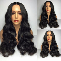 Cheap Synthetic Auburn Wigs Canada - Cheap body wave Synthetic Lace Front Wigs Heat Resistant Long Black lace front Natural Black Color sythetic Wigs for black women