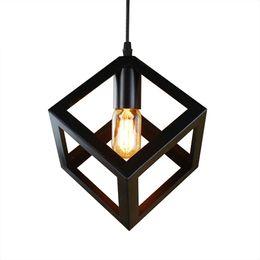 Chinese  pendant lamp American village square pendant creative living room light loft of the Quartet iron lighting bedroom balcony manufacturers