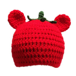 Handmade cotton crocHet beanie online shopping - Cute Red Tomato Bear Hat Handmade Knit Crochet Baby Boy Girl Kawaii Food Animal Hat Christmas Beanie Infant Toddler Photography Prop
