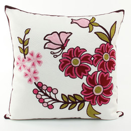 $enCountryForm.capitalKeyWord UK - Chinese Style Pink Flower And Butterfly Embroidered Cushion Cover Pastoral Floral Embroidery Cushion Covers Decorative Cotton Pillow Case