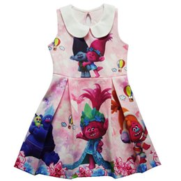 Robe Robe Fille Pas Cher-Girl Trolls Princess robe de revers New Children de haute qualité cartoon trolls gilet sans manches robes bébé enfants vêtements B001