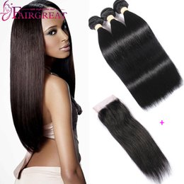 $enCountryForm.capitalKeyWord NZ - Peruvian Straight Human Hair Bundles with Closure 3Pcs lot Peruvian Virgin Hair With Closure Peruvian Human hair Products With Lace Closure