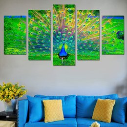peacock canvas prints Canada - 5 Pcs Set Framed HD Printed Animal Peacock Wall Art Poster Pictures Room Decoration Artworks Canvas Modern Oil Painting